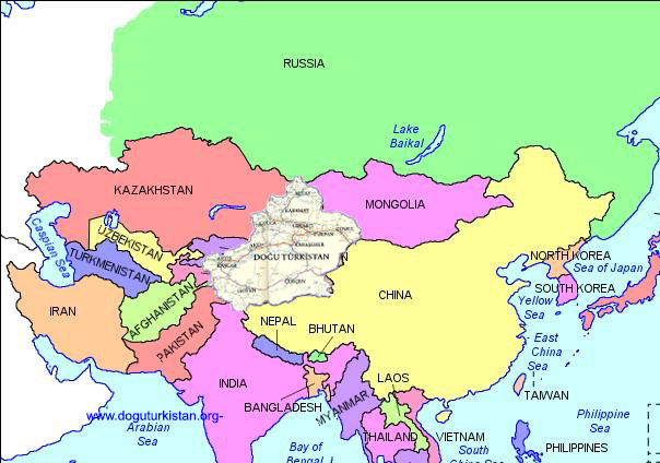 Doğu Türkistan Haritesi